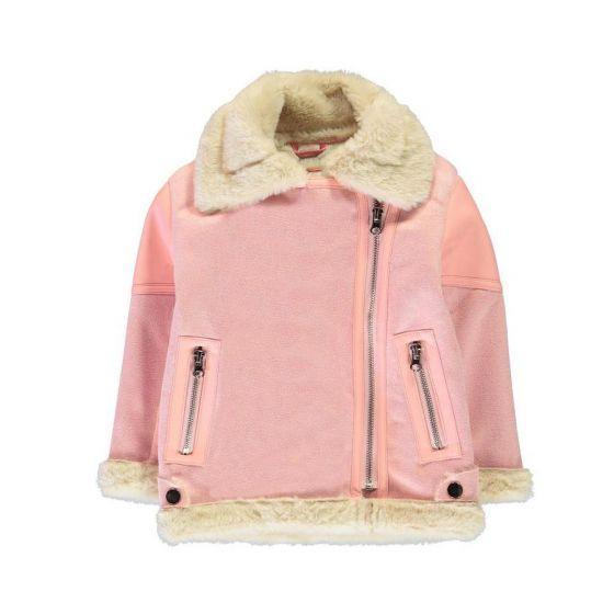 Детско палто с пухена яка