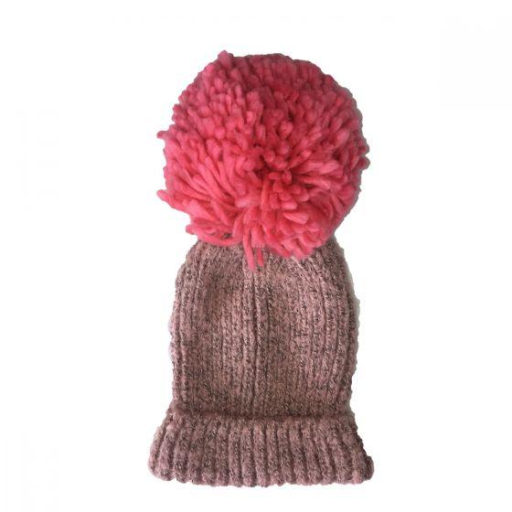 Детска плетена шапка с помпон