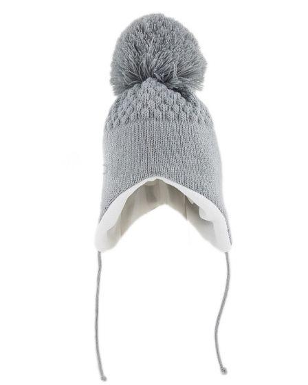 Зимна шапка с помпон Grey
