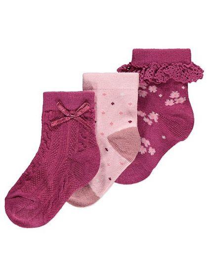 Детски чорапки в бордо - 3 бр.