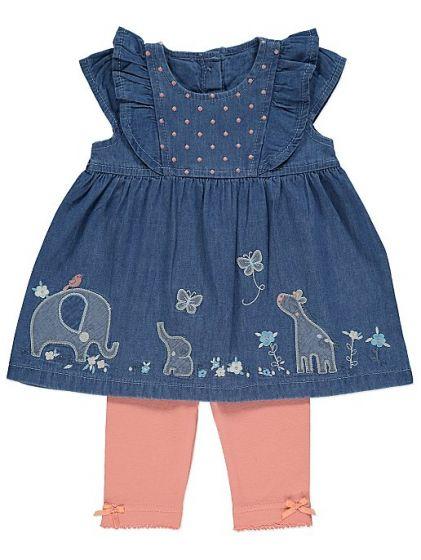 Детска дънкена рокля с клин