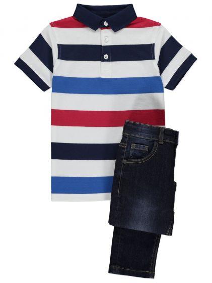 Детски комплект блузка поло с дънки