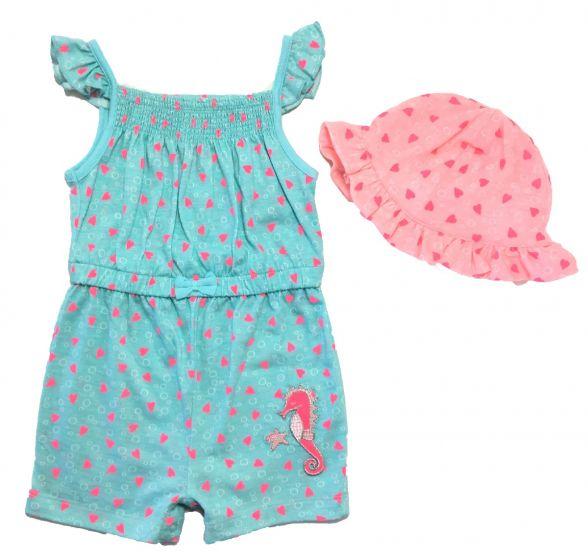 Детски летен гащеризон с шапка